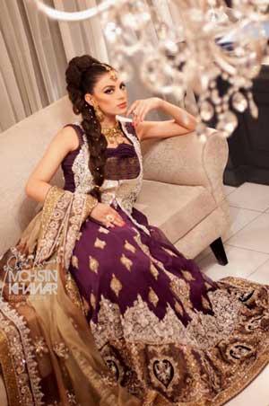 Plum colored bridal dresses in pakistan images